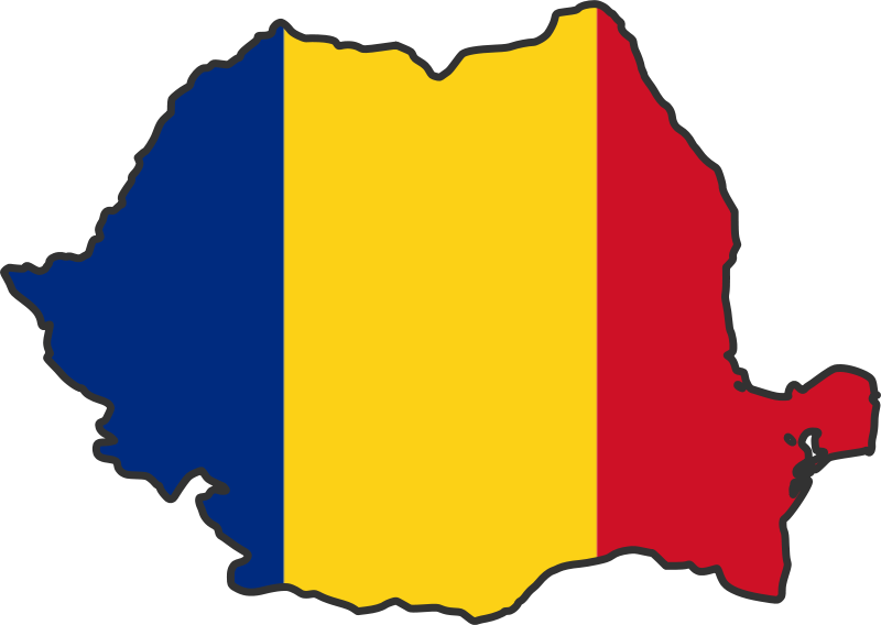 Romania - drapel plus harta