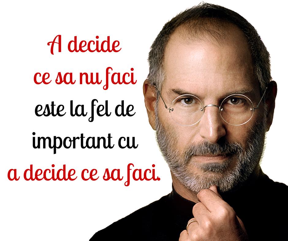 a decide ce sa faci este la fel de important cu a decide ce sa nu faci